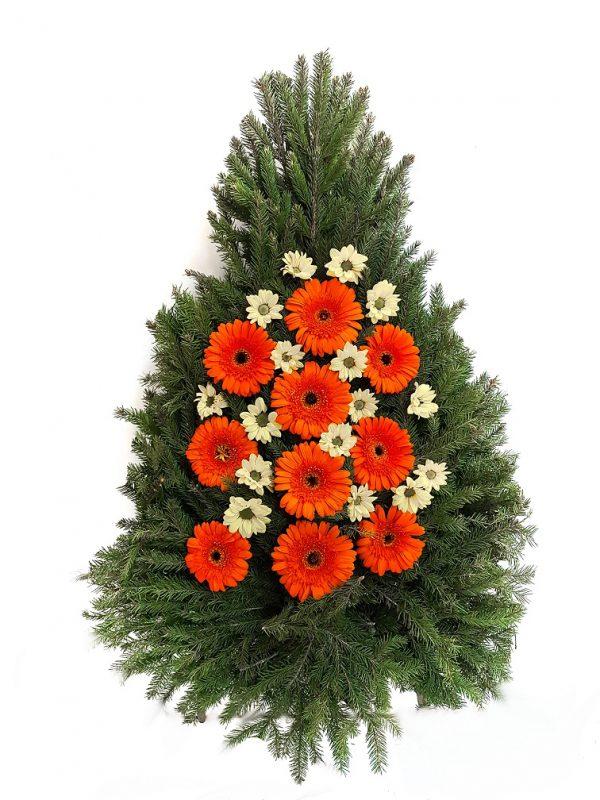 Coroană din gerbere colorate și crizanteme