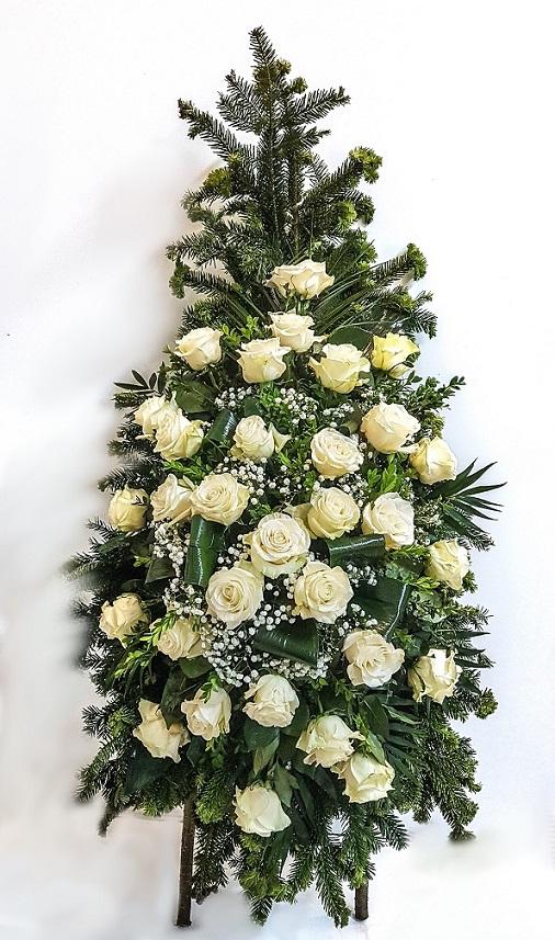 Coroană din trandafiri LUX-alb