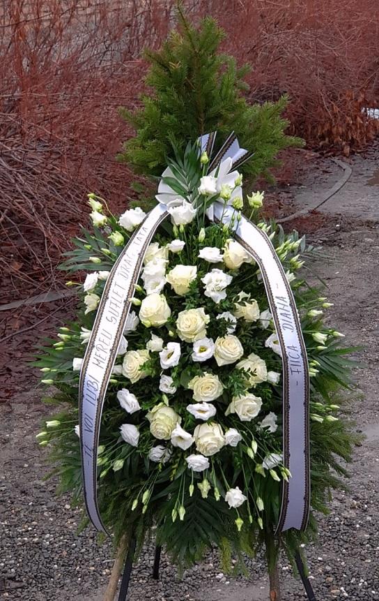 Coroană Lux cu trandafir și eustoma în burete umed