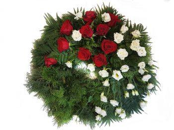 Jerbă rotundă din trandafiri și eustoma