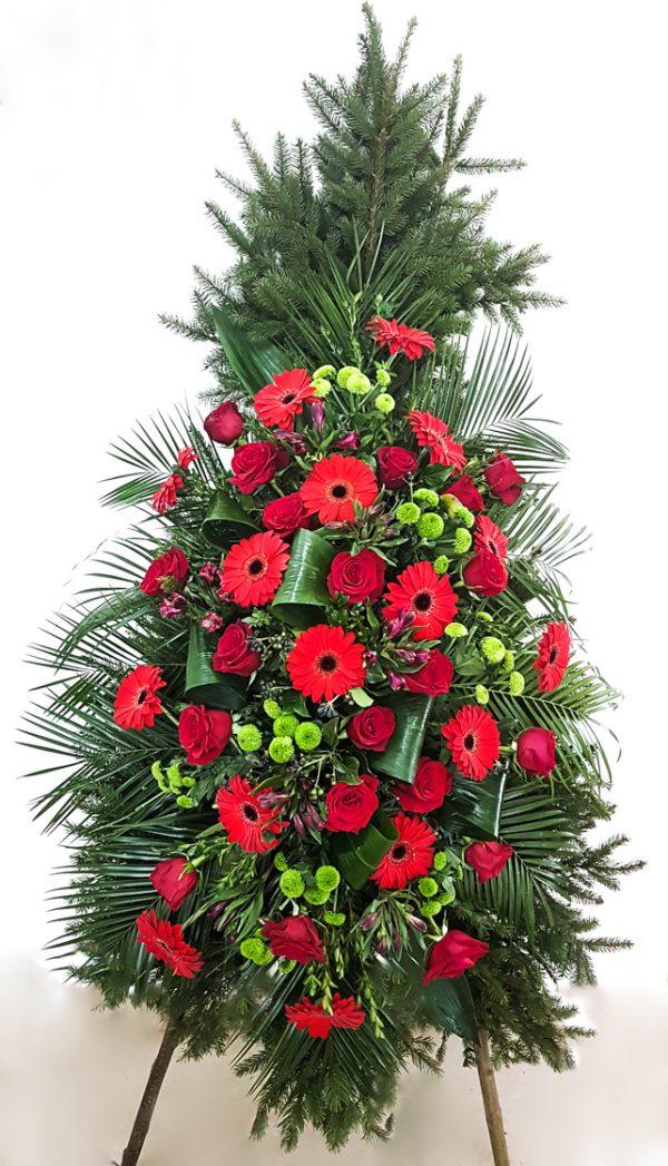Coroană din flori asortate, roșu-verde
