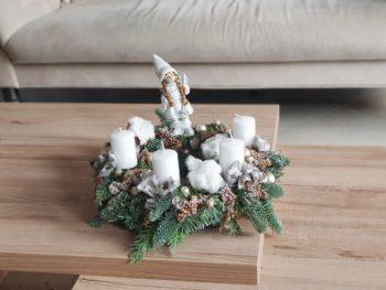 Coroniță Advent în nuanțe de alb