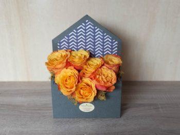 Cutie plic cu 7 trandafiri portocalii